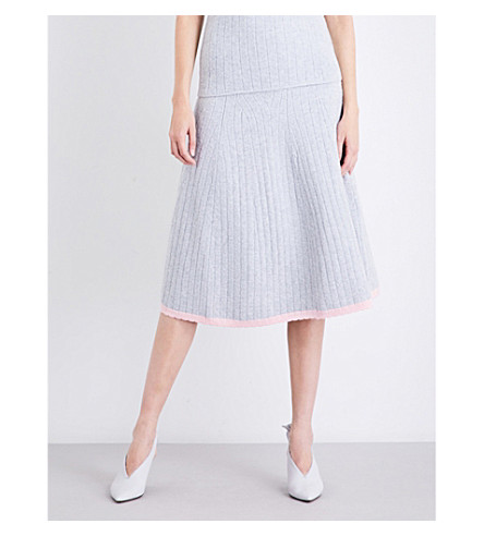 VICTORIA BECKHAM Scalloped-hem high-rise stretch-wool skirt (Light+grey/shine+pink