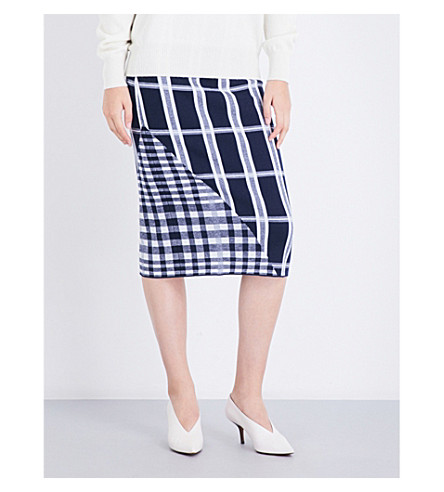 VICTORIA BECKHAM Tartan wool-blend skirt (Navy/white/navy+shine