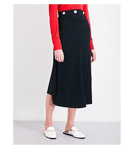 VICTORIA BECKHAM Waist Drape Fluid crepe midi skirt (Black
