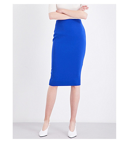 VICTORIA BECKHAM Zip-detail mid-rise crepe skirt (Dark+royal+blue