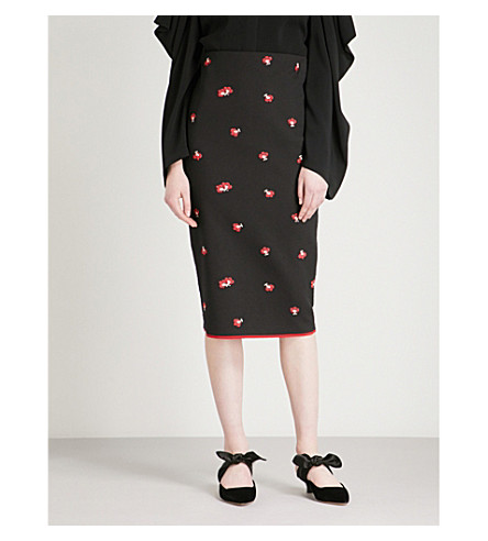 VICTORIA BECKHAM Floral-jacquard pencil skirt (Black-red