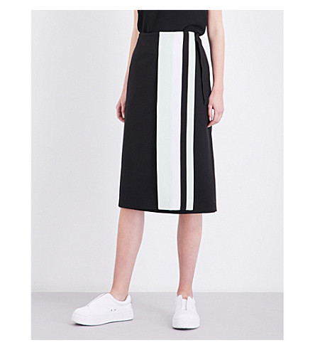 VICTORIA VICTORIA BECKHAM Contrast stripe-panel high-rise wool skirt (Black