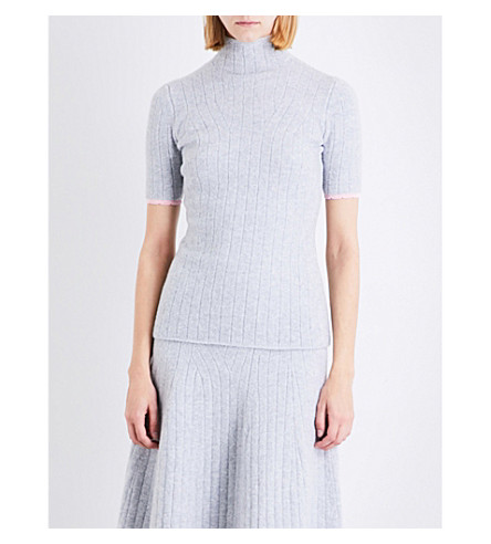 VICTORIA BECKHAM Scalloped-trim high-neck stretch-knit top (Light+grey/shine+pink