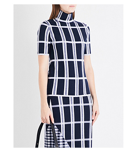 VICTORIA BECKHAM Checked high-neck wool-blend top (Navy/white/navy+shine