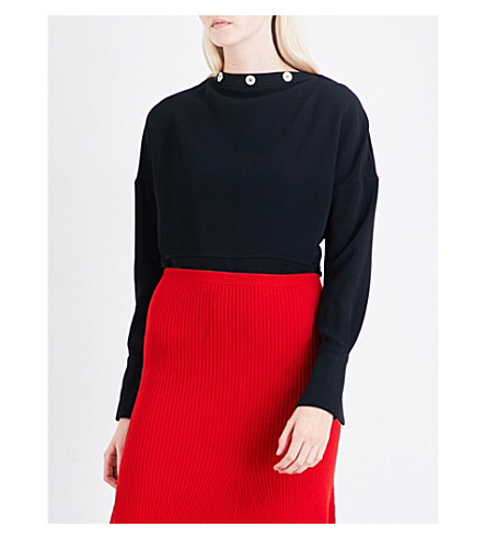 VICTORIA BECKHAM Button-detail boat-neck crepe top (Black