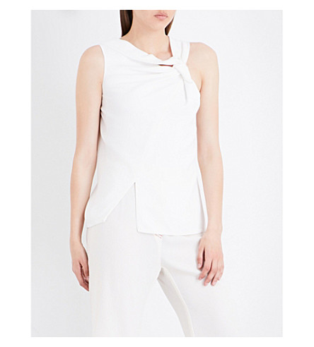 VICTORIA BECKHAM Sleeveless knotted stretch-crepe top (Ivory