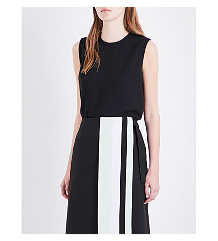 VICTORIA VICTORIA BECKHAM Ruched keyhole-detail crepe top (Black