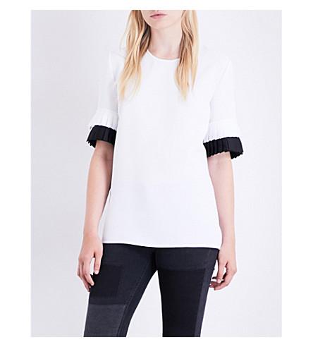 VICTORIA VICTORIA BECKHAM Pleated-sleeve crepe top (White/+black