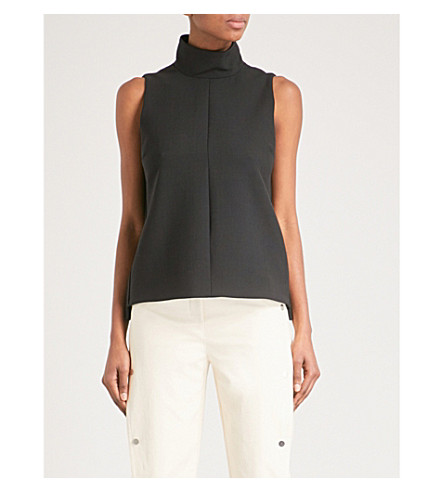 VICTORIA VICTORIA BECKHAM Sleeveless funnel-neck crepe top (Black