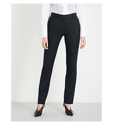 VICTORIA BECKHAM Tuxedo slim-fit wool-twill trousers (Black