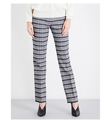 VICTORIA BECKHAM Checked straight mid-rise wool-blend trousers (White-black-red