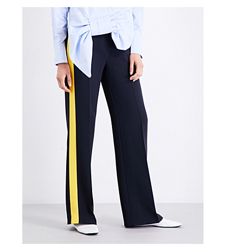 VICTORIA VICTORIA BECKHAM Striped-panel wide high-rise stretch-crepe trousers (Navy/+lemon+zest