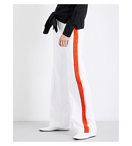VICTORIA VICTORIA BECKHAM Striped-panel wide high-rise stretch-crepe trousers (White/orange+zest
