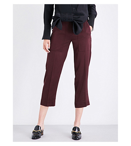 VICTORIA VICTORIA BECKHAM Straight cropped high-rise woven trousers (Burgundy