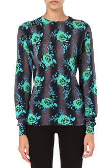 CHRISTOPHER KANE Floral knitted-silk jumper