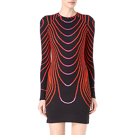 CHRISTOPHER KANE Curved stripes jersey dress (Red