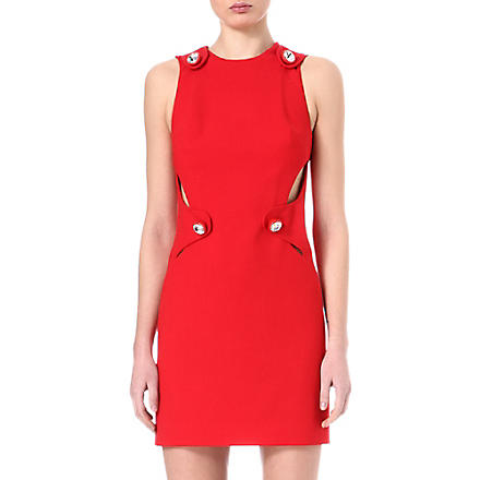 CHRISTOPHER KANE Crystal-button cut-out dress (Red