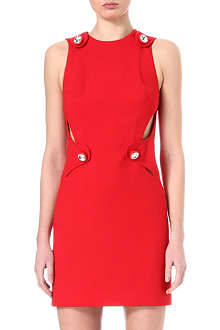 CHRISTOPHER KANE Crystal-button cut-out dress