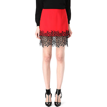 CHRISTOPHER KANE Lace-hem mini skirt (Red