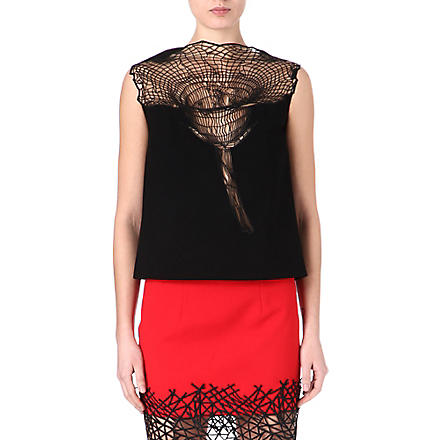 CHRISTOPHER KANE Lace flower-detail top (Black