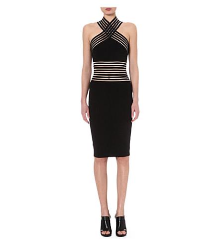 CHRISTOPHER KANE Sheer-panel halterneck dress (Black