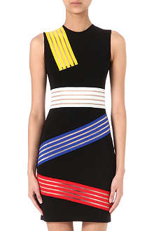 CHRISTOPHER KANE Striped-panel bodycon dress