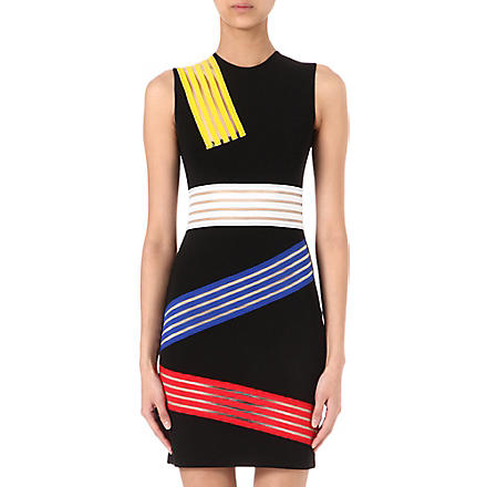 CHRISTOPHER KANE Striped-panel bodycon dress (Black