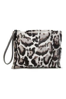 CHRISTOPHER KANE Jaguar-print ponyskin and leather clutch