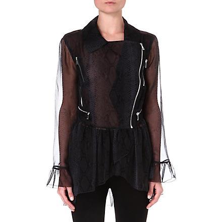 CHRISTOPHER KANE Python-print silk biker jacket (Grey