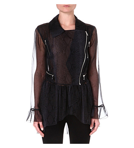 CHRISTOPHER KANE Python-print silk biker jacket (Grey