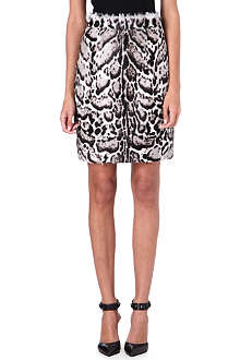 CHRISTOPHER KANE Jaguar-print goatskin and leather skirt