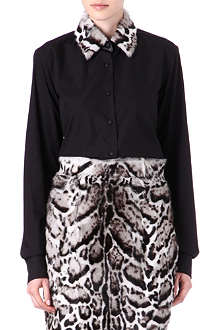 CHRISTOPHER KANE Jaguar-print goatskin-collar shirt