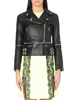 CHRISTOPHER KANE Zipped-waist leather biker jacket