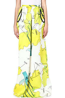 CHRISTOPHER KANE Carnation-print silk skirt