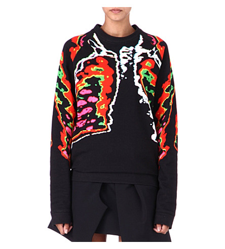 CHRISTOPHER KANE Ribcage-print jumper (Red