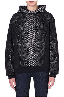 CHRISTOPHER KANE Snake-print cotton hoody