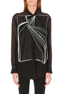CHRISTOPHER KANE Silk organza layered bib front shirt