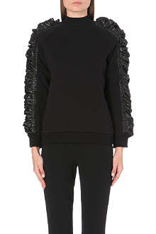 CHRISTOPHER KANE Ruched-sleeve turtleneck sweatshirt