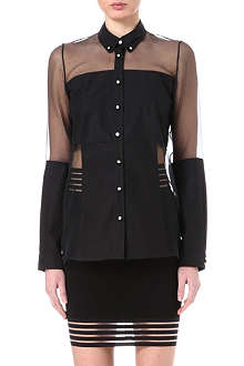 CHRISTOPHER KANE Crystal-button sheer-panel shirt