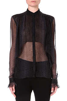 CHRISTOPHER KANE Python-print sheer silk shirt