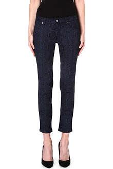 CHRISTOPHER KANE Snake-print skinny mid-rise jeans