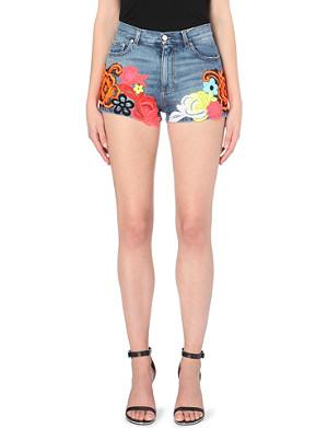 CHRISTOPHER KANE Floral-embroidered denim shorts