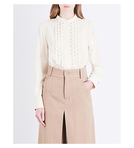 CHLOE Eyelet-embroidered silk-crepe de chine shirt (Seedpearl