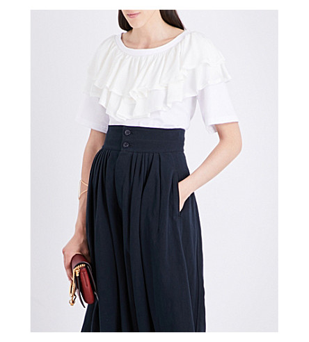 CHLOE Ruffled-neck silk and cotton top (White