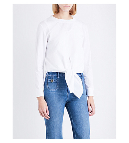 CHLOE Knotted cotton top (White
