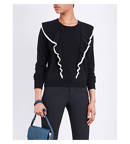CHLOE Ruffled cashmere and cotton-blend sweater (Nr001+black