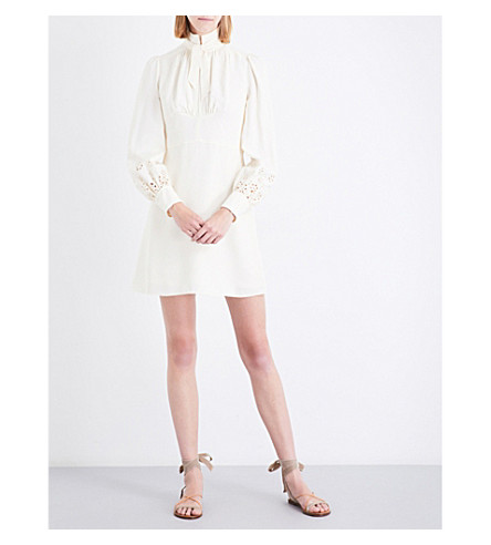 CHLOE Pussybow twill dress (Pristine+(cream)