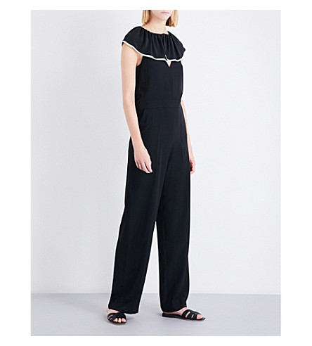 CHLOE Ruffled silk-crepe jumpsuit (Nr001+black