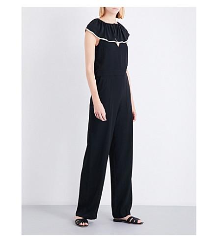 CHLOE Ruffled silk-crepe jumpsuit (Nr001+black