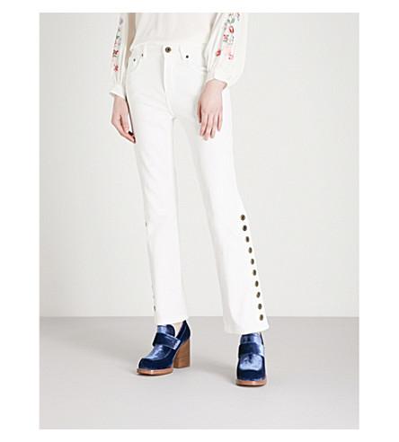 CHLOE Button-detail straight high-rise jeans (White